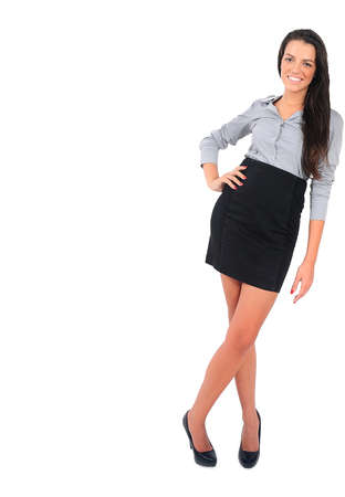 Isolated young business woman leaning something Stock Photo - 15664951