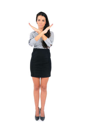 Isolated young business woman refuse Stock Photo