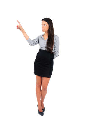 Isolated young business woman push something photo