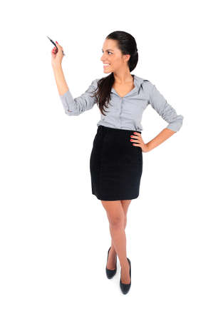Isolated young business woman drawing Stock Photo - 15649582