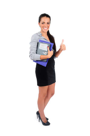 Isolated young business woman approval Stock Photo - 15665003