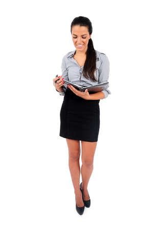 Isolated young business woman reading photo