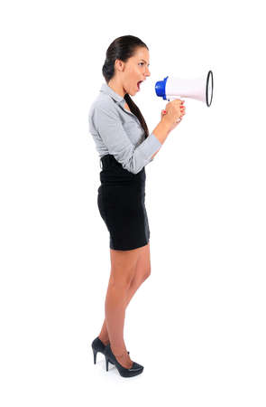 Isolated young business woman with loudspeaker Stock Photo - 15644722