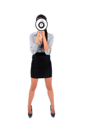 Isolated young business woman with loudspeaker face Stock Photo - 15640699