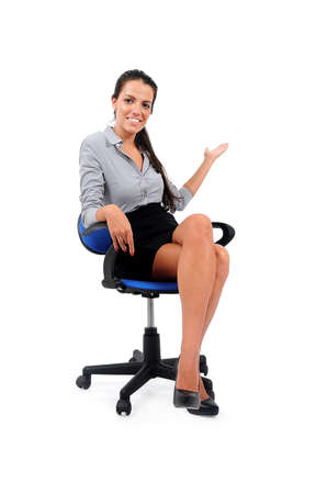 Isolated young business woman sitting Stock Photo - 15649627