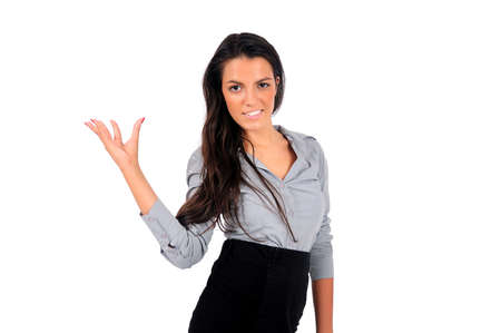 Isolated young business woman showing something Stock Photo - 15665521