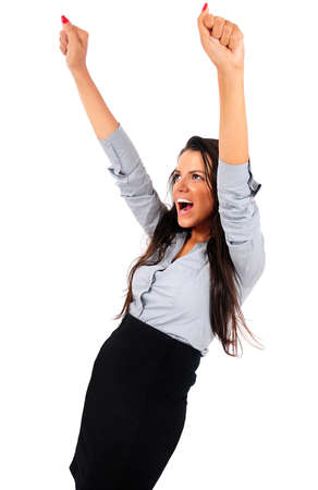Isolated young business woman screaming happy Stock Photo - 15645982