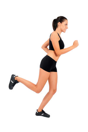 woman run: Isolated young fitness woman on white
