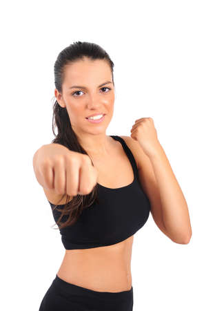 Isolated young boxer woman with focus on face photo