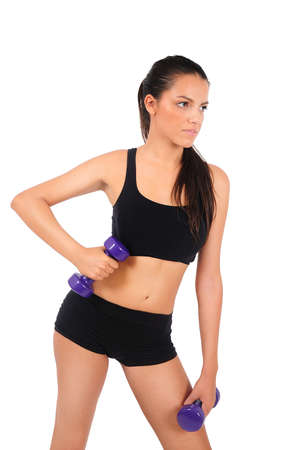 Isolated young fitness woman photo