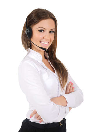 Isolated young business woman with headphone photo