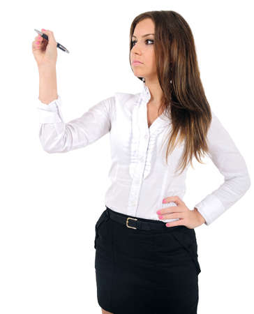 Isolated young business woman drawing Stock Photo - 16009834