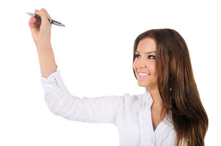 Isolated young business woman drawing photo