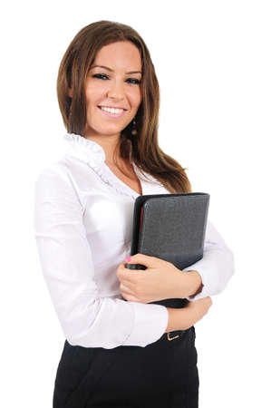 Isolated young business woman holding agenda photo