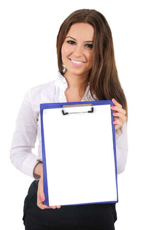Isolated young business woman showing clipboard Stock Photo - 16009859