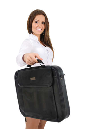 Isolated young business woman giving briefcase photo