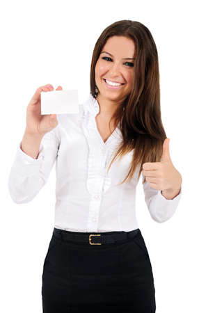 businesswoman card: Isolated young business woman showing card Stock Photo