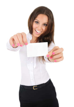 Isolated young business woman showing card Stock Photo - 16010064