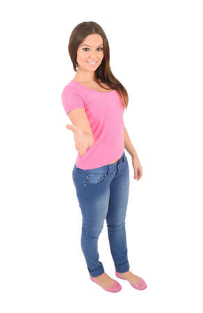 Isolated young casual woman handshake Stock Photo - 16010041