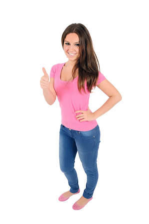 Isolated young casual woman agree Stock Photo - 16009942