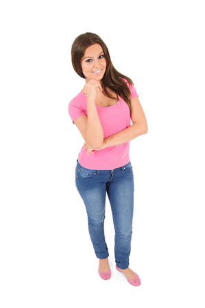 Isolated young casual woman thinking Stock Photo - 16010029