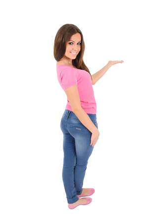 Isolated young casual woman presenting