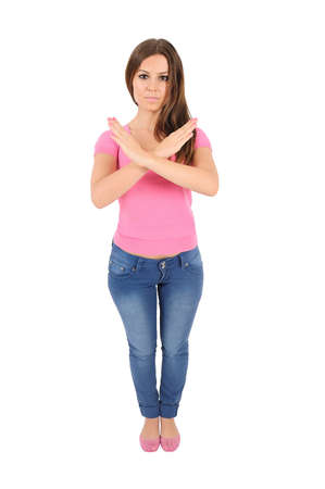 Isolated young casual woman refuse Stock Photo - 16010048