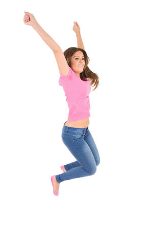 Isolated young casual woman jump photo