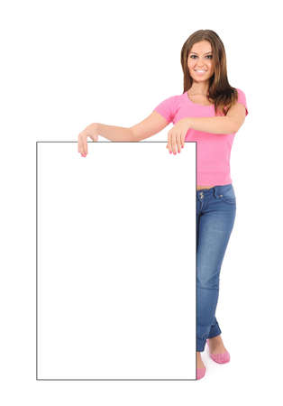 something: Isolated young casual woman leaning Stock Photo