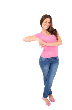 Aislados mujer joven casual apoyado Foto de archivo - 16010034