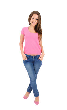 Isolated young casual woman standing