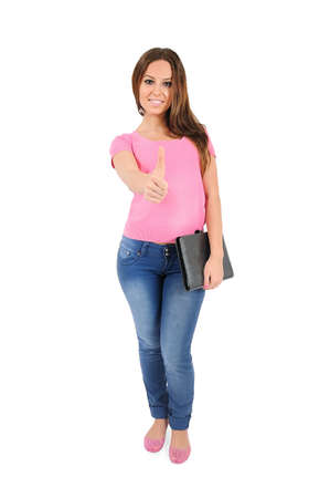 Isolated young casual woman approval Stock Photo - 16009964