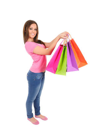 Isolated young casual woman with shopping bag Stock Photo - 16009962