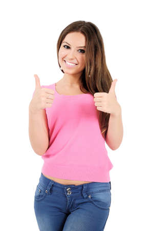 Isolated young casual woman approve Stock Photo - 16009780