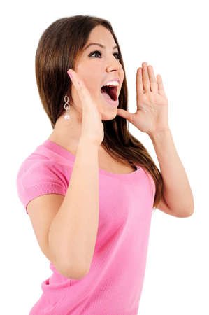 Isolated young casual woman shouting photo