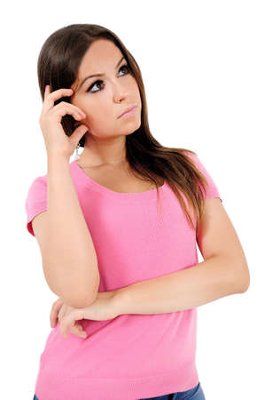 Isolated young casual woman thinking Stock Photo - 16009763