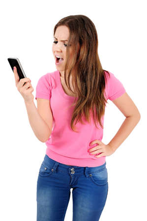 Isolated young casual woman screaming phone Stock Photo - 16009768