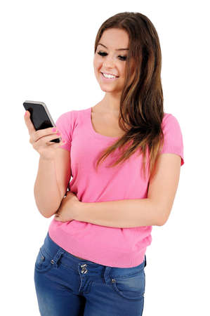Isolated young casual woman holding phone photo