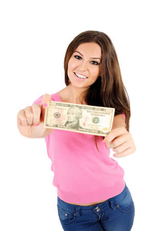 Isolated young casual woman showing money photo