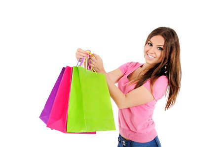 woman holding bag: Isolated young casual woman holding bag