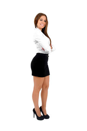 Isolated young business  woman standing Stock Photo