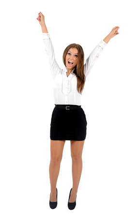 Isolated young business woman happy Stock Photo - 16010209