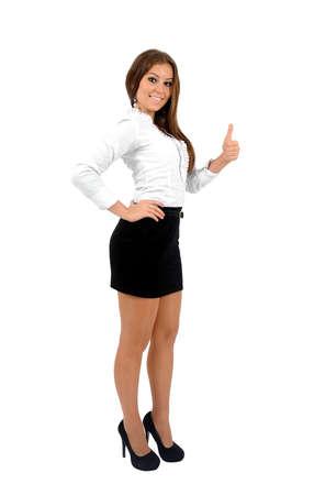 expression corporelle: Isol� approbation jeune femme d'affaires Banque d'images