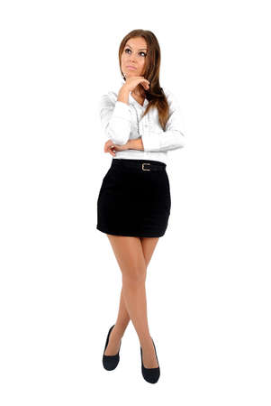 Isolated young business woman thinking Stock Photo - 16010208