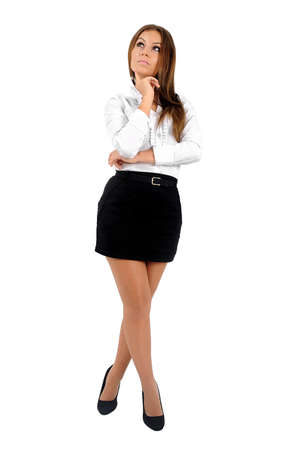 Isolated young business woman thinking Stock Photo - 16010148