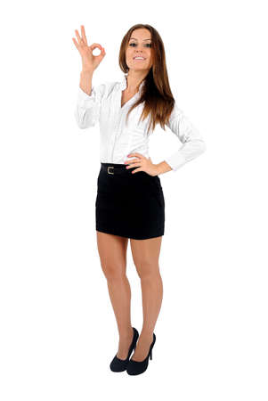 Isolated young business woman ok sign Stock Photo - 16010081
