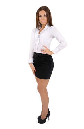 Isolated young business woman standing Stock Photo - 16010120