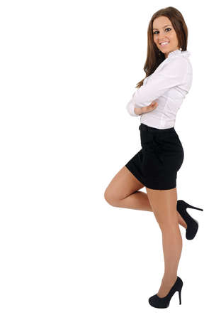 something: Isolated young business woman leaning