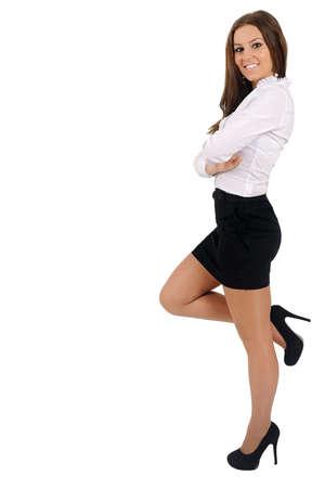 Mujer aislada negocio joven apoyado Foto de archivo - 16010185
