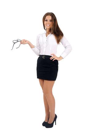 Isolé jeune femme d'affaires debout Banque d'images